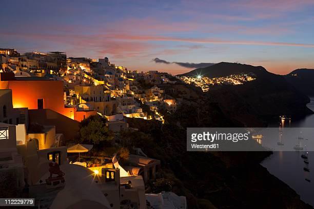 Europe, Greece, Thira, Cyclades, Santorini, Oia, View of village at dawn