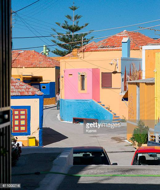 Europe, Greece, View Of Multi Coloured Greek Village Homes