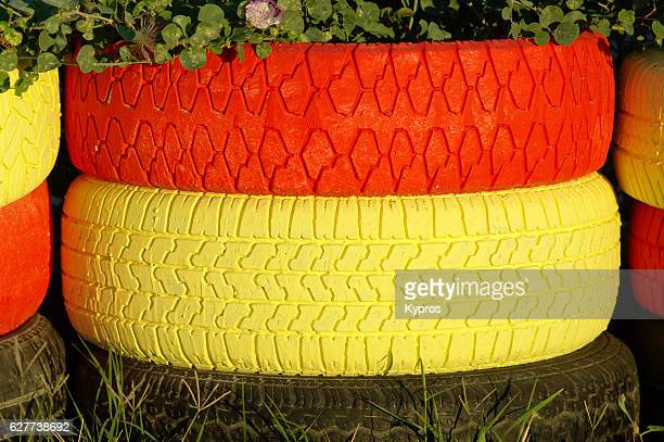 Europe, Greece, View Of Painted Tyres At Racetrack