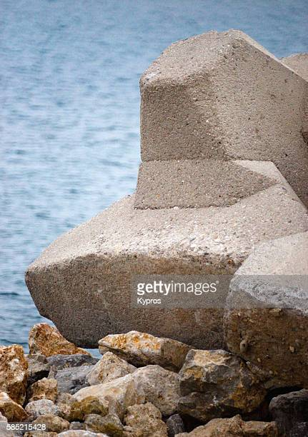 Europe, Greece, View Of Reinforced Concrete Tetra Pod Used To Prevent Erosion