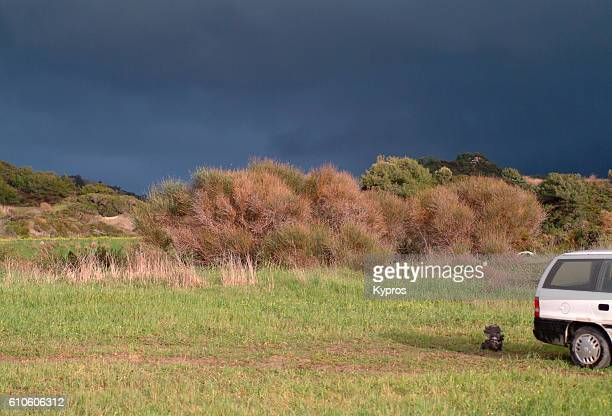 Europe, Greece, View Of Storm Approaching Over Farmland