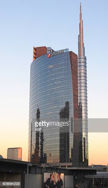 Europe Italy Lombardy Milan Porta Nuova District Unicredit Tower Contemporary Architecture