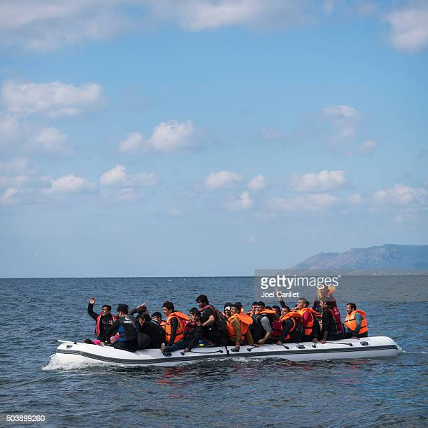Europe migrant crisis - refugees in boat