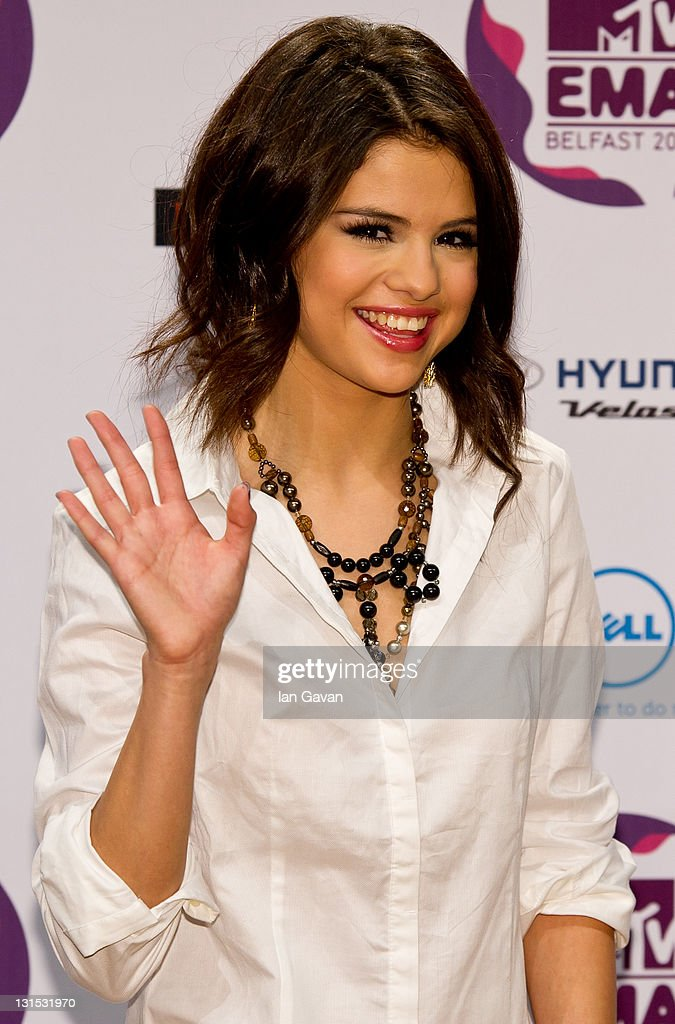 Europe Music Awards hostess <a gi-track='captionPersonalityLinkClicked' href=/galleries/search?phrase=Selena+Gomez&family=editorial&specificpeople=4295969 ng-click='$event.stopPropagation()'>Selena Gomez</a> attends a MTV Europe Music Awards 2011 press conference at Odyssey Arena on November 5, 2011 in Belfast, Northern Ireland.
