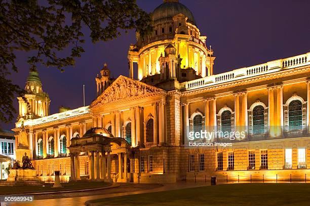 Europe Northern Ireland Belfast City Hall By Night Europa Irlanda Del Nord Belfast City Hall Di Notte