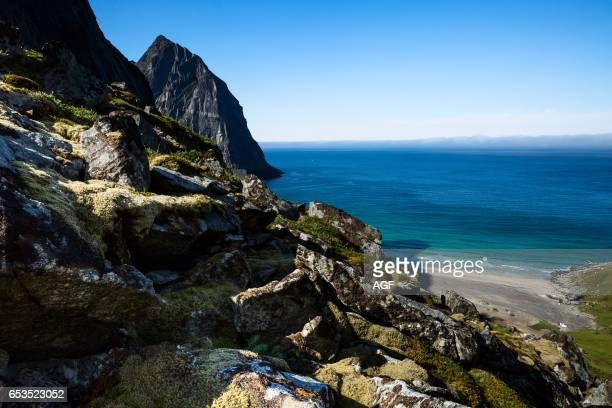 Europe Norway Lofoten Kvalvika It is one of the Lofoten IslandsÕ most scenic beaches Located in an isolated bay on the northern side of Moskenes¿ya...