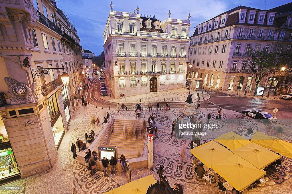 Europe, Portugal, Lisbon, Rua Garrett at night, elevated view : Stock Photo