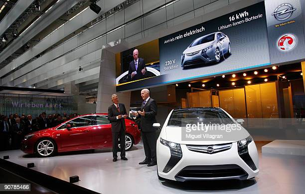 Europe President CarlPeter Forster presents the new Opel Astra and the electric Opel car Ampera during the international motor show IAA on September...