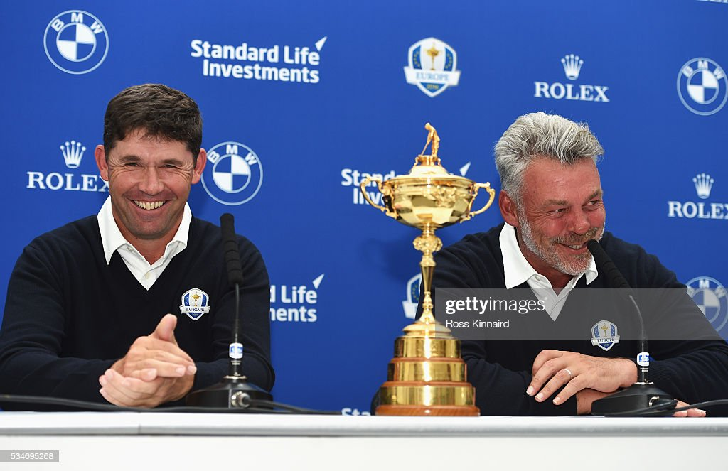 Europe Ryder Cup Captain <a gi-track='captionPersonalityLinkClicked' href=/galleries/search?phrase=Darren+Clarke&family=editorial&specificpeople=171309 ng-click='$event.stopPropagation()'>Darren Clarke</a> (R) of Northern Ireland laughs with one of his vice-captains <a gi-track='captionPersonalityLinkClicked' href=/galleries/search?phrase=Padraig+Harrington&family=editorial&specificpeople=175865 ng-click='$event.stopPropagation()'>Padraig Harrington</a> of Ireland during a press conference on day two of the BMW PGA Championship at Wentworth on May 27, 2016 in Virginia Water, England.