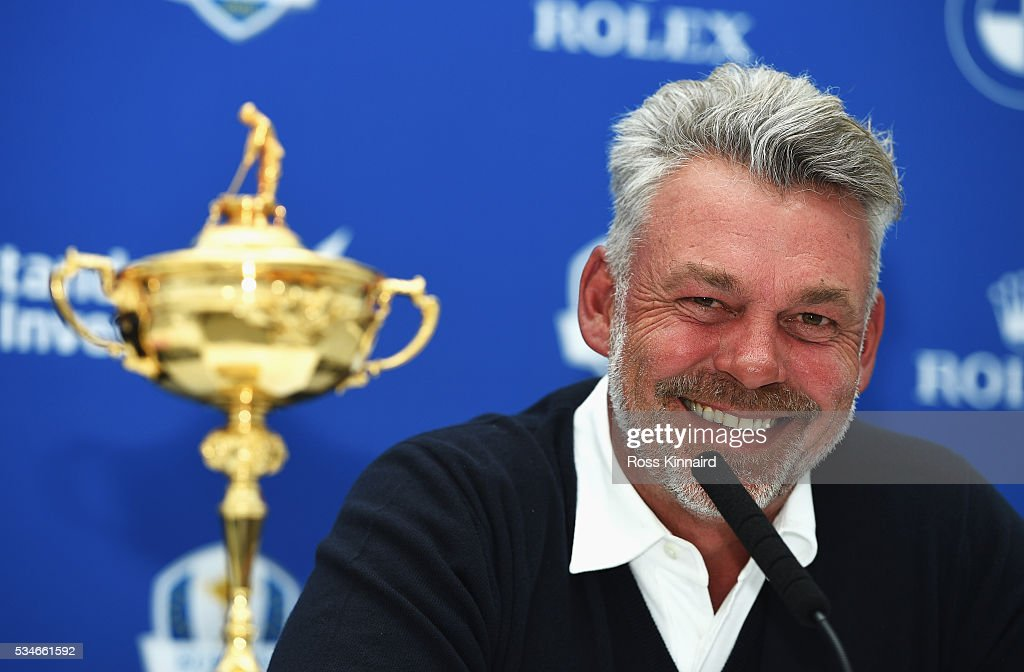 Ryder Cup Captain <a gi-track='captionPersonalityLinkClicked' href=/galleries/search?phrase=Darren+Clarke&family=editorial&specificpeople=171309 ng-click='$event.stopPropagation()'>Darren Clarke</a> of Northern Ireland talks after announcing his vice-captains Paul Lawrie of Scotland, Padraig Harrington of Ireland and Thomas Bjorn of Denmark during a press conference on day two of the BMW PGA Championship at Wentworth on May 27, 2016 in Virginia Water, England.