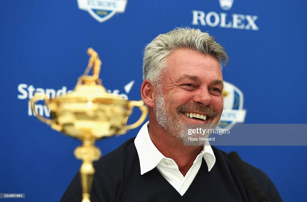 Ryder Cup Captain Darren Clarke of Northern Ireland talks after announcing his vice-captains Paul Lawrie of Scotland, Padraig Harrington of Ireland and Thomas Bjorn of Denmark during a press conference on day two of the BMW PGA Championship at Wentworth on May 27, 2016 in Virginia Water, England.