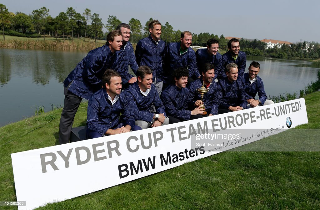Europe Ryder Cup members (back row) <a gi-track='captionPersonalityLinkClicked' href=/galleries/search?phrase=Nicolas+Colsaerts&family=editorial&specificpeople=216573 ng-click='$event.stopPropagation()'>Nicolas Colsaerts</a> of Belgium, <a gi-track='captionPersonalityLinkClicked' href=/galleries/search?phrase=Paul+Lawrie&family=editorial&specificpeople=202995 ng-click='$event.stopPropagation()'>Paul Lawrie</a> of Scotland, <a gi-track='captionPersonalityLinkClicked' href=/galleries/search?phrase=Ian+Poulter&family=editorial&specificpeople=171444 ng-click='$event.stopPropagation()'>Ian Poulter</a>, <a gi-track='captionPersonalityLinkClicked' href=/galleries/search?phrase=Peter+Hanson&family=editorial&specificpeople=217256 ng-click='$event.stopPropagation()'>Peter Hanson</a> of Sweden; <a gi-track='captionPersonalityLinkClicked' href=/galleries/search?phrase=Justin+Rose&family=editorial&specificpeople=171559 ng-click='$event.stopPropagation()'>Justin Rose</a> of England, <a gi-track='captionPersonalityLinkClicked' href=/galleries/search?phrase=Francesco+Molinari&family=editorial&specificpeople=637481 ng-click='$event.stopPropagation()'>Francesco Molinari</a> of Italy- (front row) <a gi-track='captionPersonalityLinkClicked' href=/galleries/search?phrase=Graeme+McDowell+-+Golfer&family=editorial&specificpeople=196520 ng-click='$event.stopPropagation()'>Graeme McDowell</a> of Northern Ireland, <a gi-track='captionPersonalityLinkClicked' href=/galleries/search?phrase=Lee+Westwood&family=editorial&specificpeople=171611 ng-click='$event.stopPropagation()'>Lee Westwood</a> of England, <a gi-track='captionPersonalityLinkClicked' href=/galleries/search?phrase=Rory+McIlroy&family=editorial&specificpeople=783109 ng-click='$event.stopPropagation()'>Rory McIlroy</a> of Northern Ireland, <a gi-track='captionPersonalityLinkClicked' href=/galleries/search?phrase=Jose+Maria+Olazabal&family=editorial&specificpeople=176521 ng-click='$event.stopPropagation()'>Jose Maria Olazabal</a> of Spain, <a gi-track='captionPersonalityLinkClicked' href=/galleries/search?phrase=Luke+Donald&family=editorial&specificpeople=194977 ng-click='$event.stopPropagation()'>Luke Donald</a> of England and <a gi-track='captionPersonalityLinkClicked' href=/galleries/search?phrase=Martin+Kaymer&family=editorial&specificpeople=2143733 ng-click='$event.stopPropagation()'>Martin Kaymer</a> of Germany pose with the Ryder Cup during the photocall and press conference prior to the start of the BMW Masters at the Lake Malaren Golf Club on October 23, 2012 in Shanghai, China.