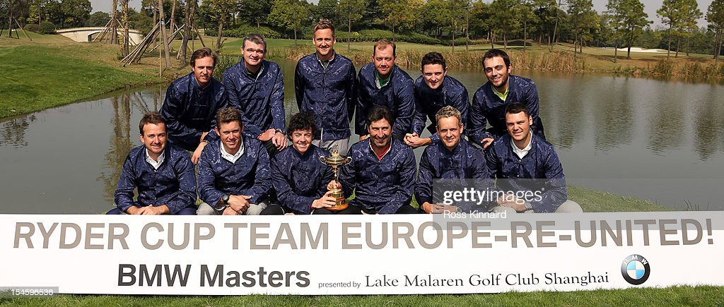 Europe Ryder Cup members (back row) Nicolas Colsaerts of Belgium, Paul Lawrie of Scotland, Ian Poulter, Peter Hanson of Sweden; Justin Rose of England, Francesco Molinari of Italy- (front row) Graeme McDowell of Northern Ireland, Lee Westwood of England, Rory McIlroy of Northern Ireland, Jose Maria Olazabal of Spain, Luke Donald of England and Martin Kaymer of Germany pose with the Ryder Cup during the photocall prior the start of the BMW Masters at the Lake Malaren Golf Club on October 23, 2012 in Shanghai, China.