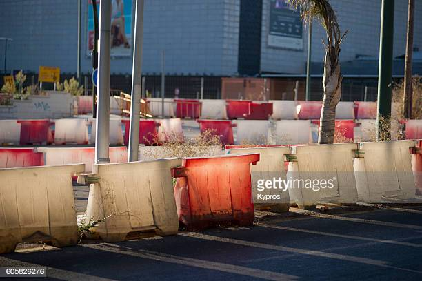 Europe, Spain, Andalusia, Costa del Sol, Malaga Area, View Of Plastic Bollards