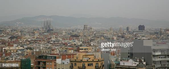 Europe Spain Barcelona Skyline With Unfinished Church Sagrada