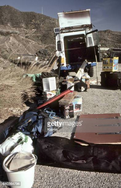 Europe, Spain, View Of Camping Equipment Roadside Sort Before Crossing From Europe To Africa (Year 2000)