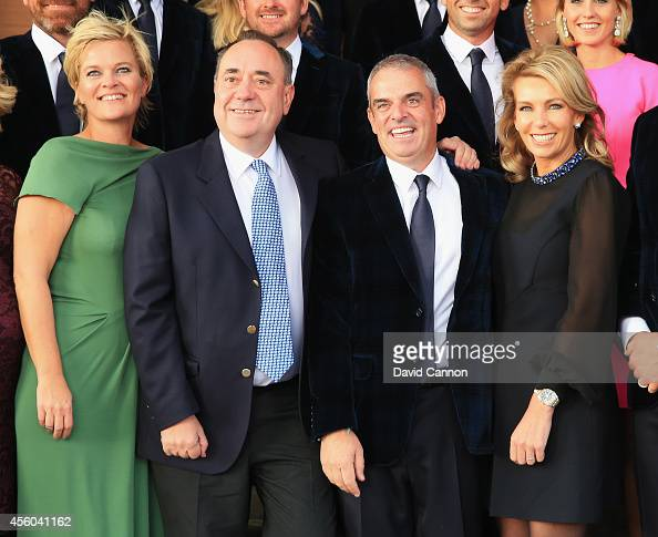 Europe team captain Paul McGinley and wife Allison pose with Alex Salmond First Minister of Scotland and Pernilla Bjorn wife of Thomas Bjorn during...