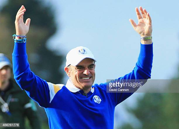 Europe team captain Paul McGinley celebrates as Europe won the Ryder Cup on the 15th hole with victory by Jamie Donaldson of Europe against Keegan...