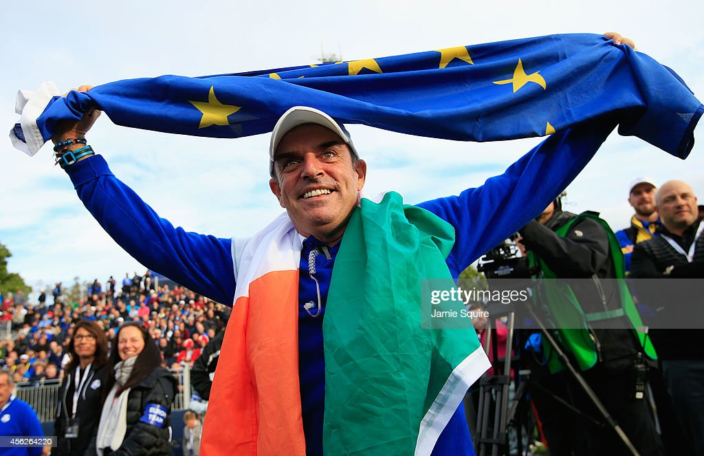 Europe team captain <a gi-track='captionPersonalityLinkClicked' href=/galleries/search?phrase=Paul+McGinley&family=editorial&specificpeople=178983 ng-click='$event.stopPropagation()'>Paul McGinley</a> celebrates winning the Ryder Cup during the Singles Matches of the 2014 Ryder Cup on the PGA Centenary course at the Gleneagles Hotel on September 28, 2014 in Auchterarder, Scotland.