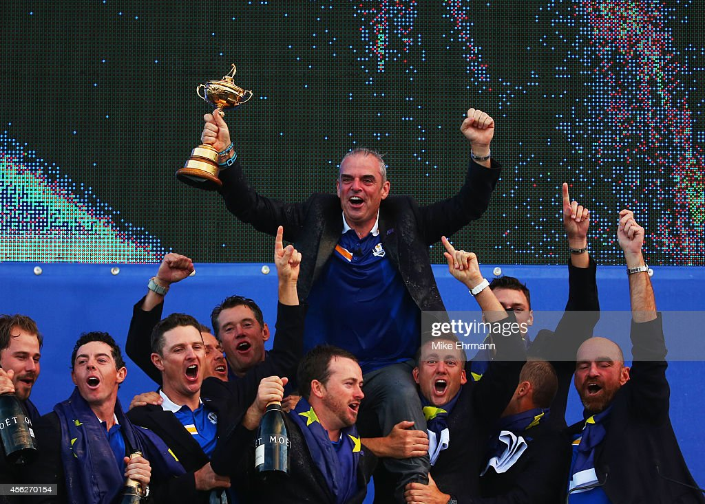 Europe team captain <a gi-track='captionPersonalityLinkClicked' href=/galleries/search?phrase=Paul+McGinley&family=editorial&specificpeople=178983 ng-click='$event.stopPropagation()'>Paul McGinley</a> celebrates winning the Ryder Cup with his team after the Singles Matches of the 2014 Ryder Cup on the PGA Centenary course at the Gleneagles Hotel on September 28, 2014 in Auchterarder, Scotland.