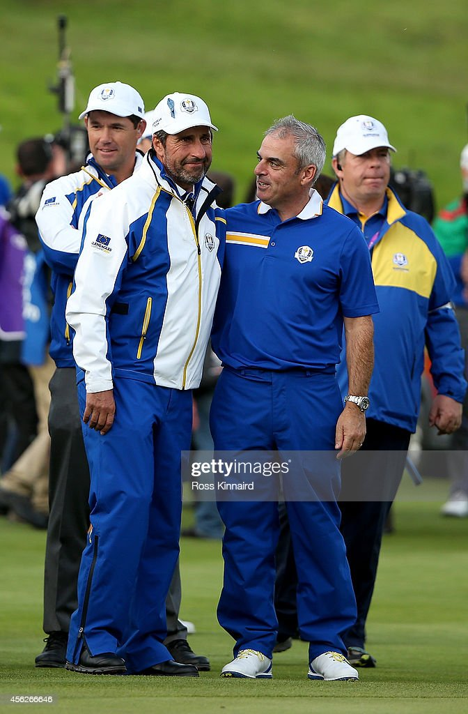 Europe team captain <a gi-track='captionPersonalityLinkClicked' href=/galleries/search?phrase=Paul+McGinley&family=editorial&specificpeople=178983 ng-click='$event.stopPropagation()'>Paul McGinley</a> (2R), Europe team vice captain <a gi-track='captionPersonalityLinkClicked' href=/galleries/search?phrase=Jose+Maria+Olazabal&family=editorial&specificpeople=176521 ng-click='$event.stopPropagation()'>Jose Maria Olazabal</a> (2L) and Europe team vice captain <a gi-track='captionPersonalityLinkClicked' href=/galleries/search?phrase=Padraig+Harrington&family=editorial&specificpeople=175865 ng-click='$event.stopPropagation()'>Padraig Harrington</a> (L) celebrate winning the Ryder Cup during the Singles Matches of the 2014 Ryder Cup on the PGA Centenary course at the Gleneagles Hotel on September 28, 2014 in Auchterarder, Scotland.