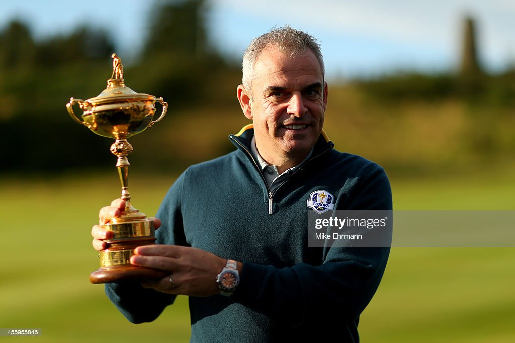 Europe team captain <a gi-track='captionPersonalityLinkClicked' href=/galleries/search?phrase=Paul+McGinley&family=editorial&specificpeople=178983 ng-click='$event.stopPropagation()'>Paul McGinley</a> poses with the Ryder Cup during the European team photocall ahead of the 2014 Ryder Cup on the PGA Centenary course at the Gleneagles Hotel on September 23, 2014 in Auchterarder, Scotland.