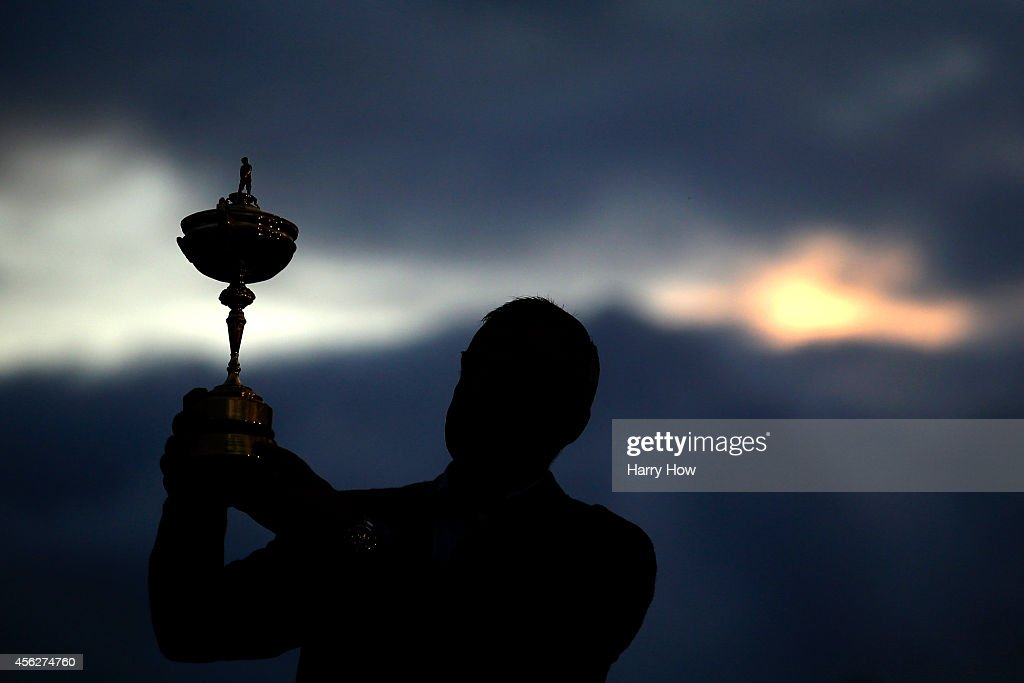 Europe team captain Paul McGinley poses with the Ryder Cup trophy after the Singles Matches of the 2014 Ryder Cup on the PGA Centenary course at the Gleneagles Hotel on September 28, 2014 in Auchterarder, Scotland.