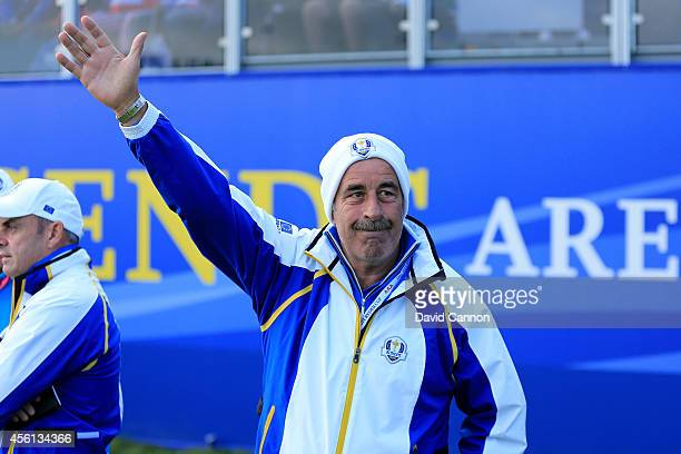 Europe team vice captain Sam Torrance waves to the crowd during the Afternoon Foursomes of the 2014 Ryder Cup on the PGA Centenary course at the...