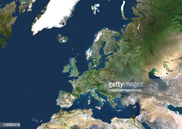 Europe True colour satellite image centred on Europe North converges towards top The terrain of Europe varies from arid dusty areas to fields forests...