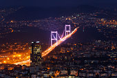 Europe, Turkey, Istanbul, View of Fatih Sultan Mehmet Bridge in financial district