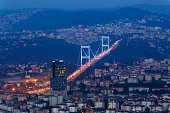 Europe, Turkey, Istanbul, View of financial district with Fatih Sultan Mehmet Bridge