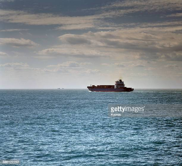 Europe, UK, England, View Of Container Ship English Channel