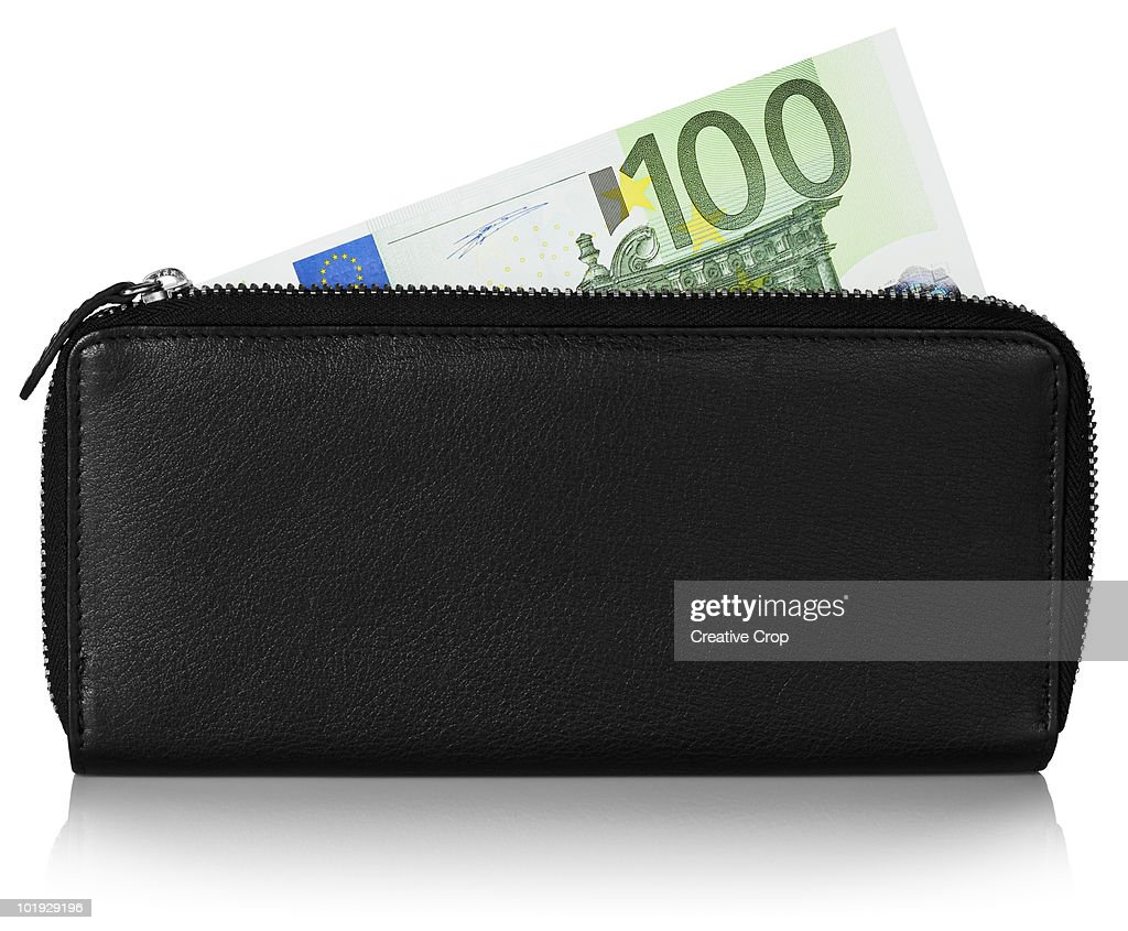 European 100 Euro note in black leather purse