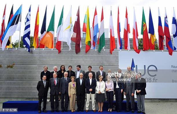 European affairs ministers of Union's 27 countries pose during an informal meeting on July 12 2008 in Brest western France French Secretary of State...