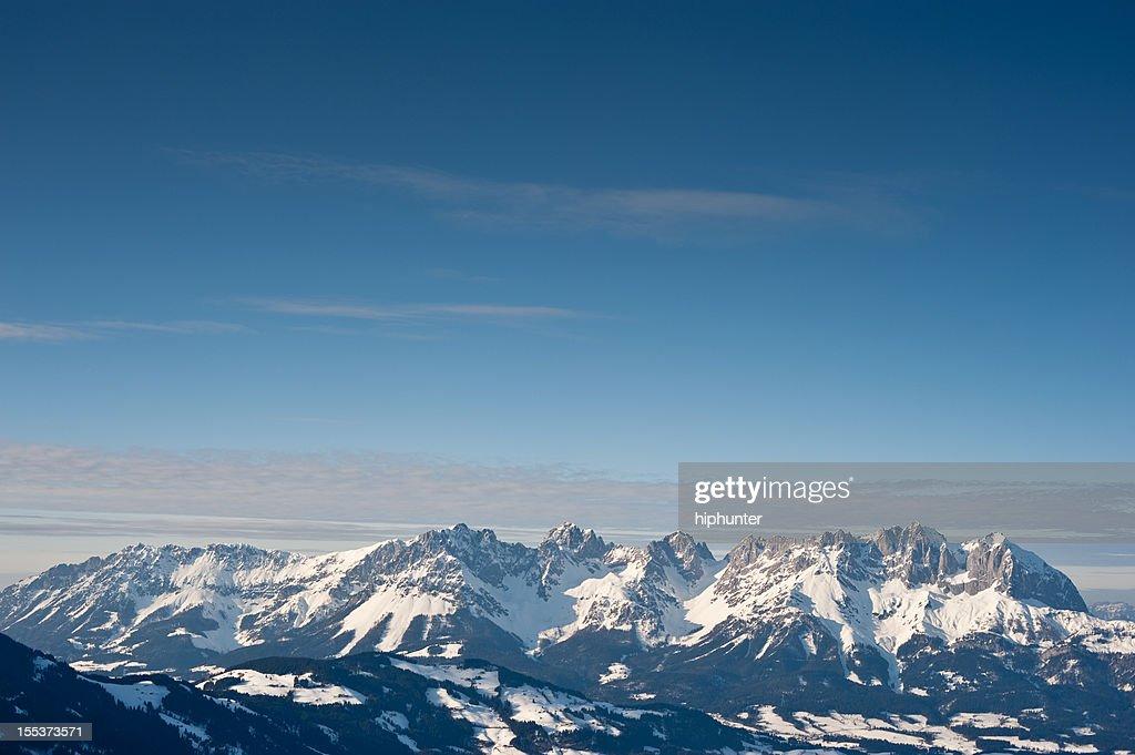 European Alps Panorama Wilder Kaiser view from Kitzbühel at Wintertime