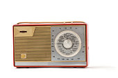 European antique plastic transistor radio on the white background