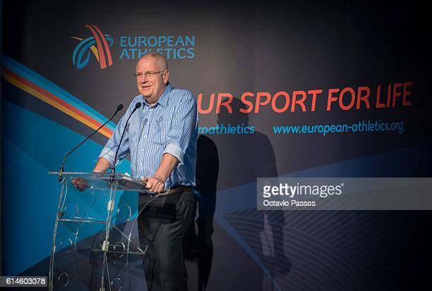 European Athletics President Svein Arne Hansen speaks during the European Athletics convention on October 14 2016 in Funchal Madeira Portugal
