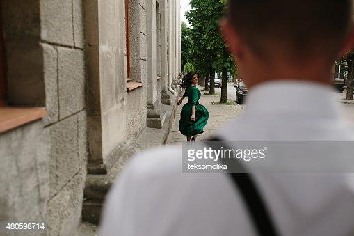 European beautiful couple posing on the street : Stock Photo