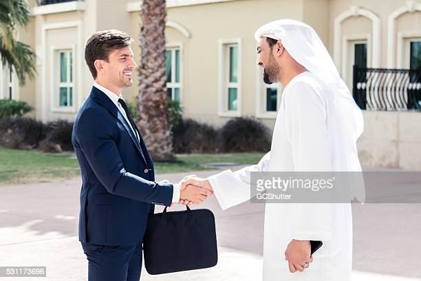 European Business Executive meets An Arab Business Man