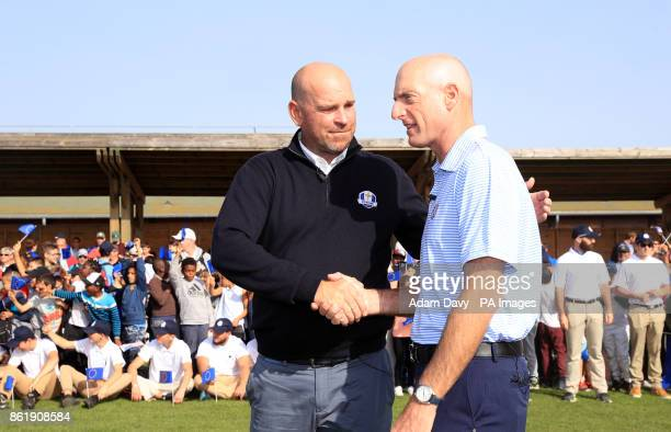 European captain Thomas Bjorn and American captain Jim Furyk during a media event ahead of the 2018 Ryder Cup at Le Golf National Paris
