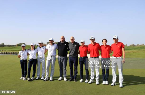 European captain Thomas Bjorn and American captain Jim Furyk pose with competitors of the Junior Ryder Cup during a media event ahead of the 2018...