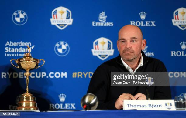 European captain Thomas Bjorn during a media event ahead of the 2018 Ryder Cup at The Hotel Pullman Paris Eiffel Tower Paris