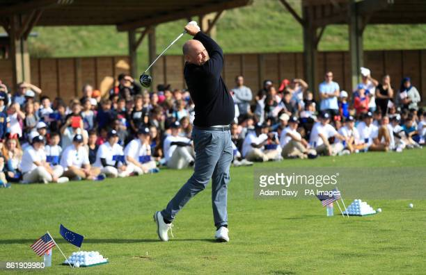 European captain Thomas Bjorn hits a few practice balls during a media event ahead of the 2018 Ryder Cup at Le Golf National Paris