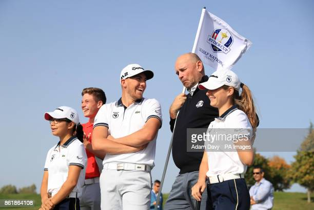 European captain Thomas Bjorn with members of the Euorpe Junior Ryder Cup team during a media event ahead of the 2018 Ryder Cup at Le Golf National...