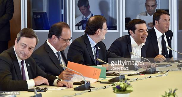 European Central Bank chief Mario Draghi French President Francois Hollande Spanish Prime Minister Mariano Rajoy Greek Prime Minister Alexis Tsipras...