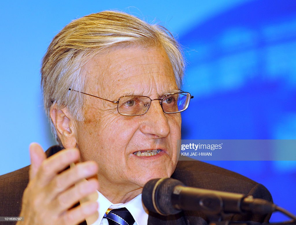 European Central Bank President Jean-Clauede Trichet speaks to the media during EU press conference of the G20 Finance Ministers and Central Bank Governors meeting in Busan June 5, 2010. Market convulsions sparked by Europe's debt crisis show that major challenges remain to global economic recovery, G20 nations said as they vowed to fix their fiscal houses.