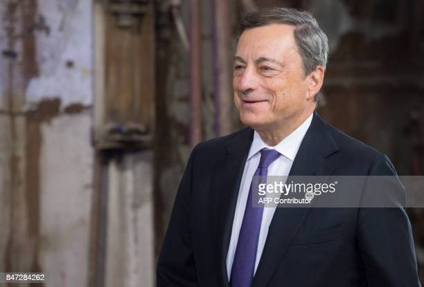 European Central Bank President Mario Draghi arrives for an Informal meeting of economic and financial affairs ministers in Tallinn on September 15...