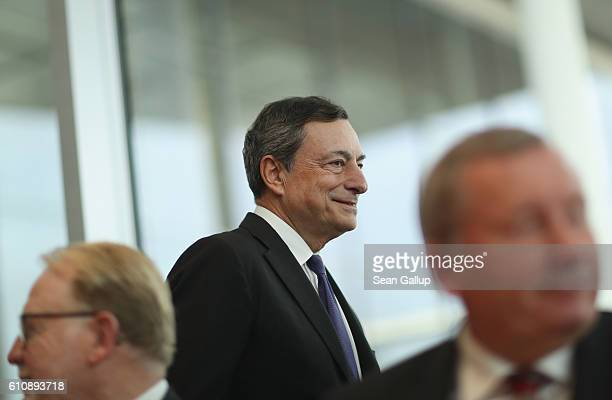 European Central Bank President Mario Draghi arrives to attend a session of the Bundestag Europe Commission on September 28 2016 in Berlin Germany...