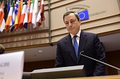 European Central Bank President Mario Draghi arrives to deliver introductory remarks in front of the Economic and Monetary Affairs Committee at the...
