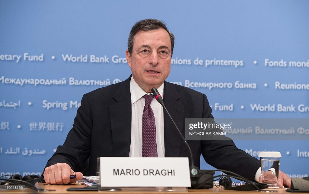 European Central Bank (ECB) President <a gi-track='captionPersonalityLinkClicked' href=/galleries/search?phrase=Mario+Draghi&family=editorial&specificpeople=571678 ng-click='$event.stopPropagation()'>Mario Draghi</a> holds a press conference at the IMF/WB Spring Meetings in Washington, DC, on April 18, 2015. AFP PHOTO/NICHOLAS KAMM
